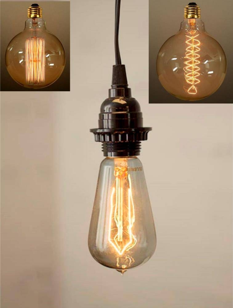 Antique Vintage Edison Bulb Plug In Pendant Light Swag Lamp 3 For Recent Edison Bulb Pendant Lights (#1 of 15)