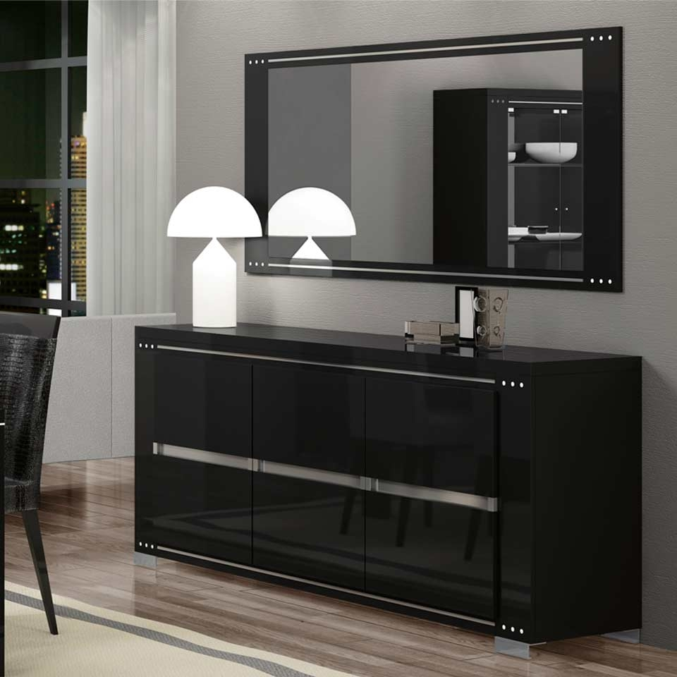 Ath Armonia Diamond Black Modern Buffet And Vetrine With Most Recently Released Black Dining Room Sideboards (View 11 of 15)