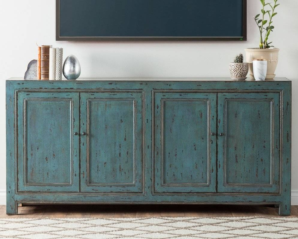 August Grove Mahoning Reclaimed Pine 4 Door Sideboard & Reviews Throughout Current Turquoise Sideboards (#3 of 15)
