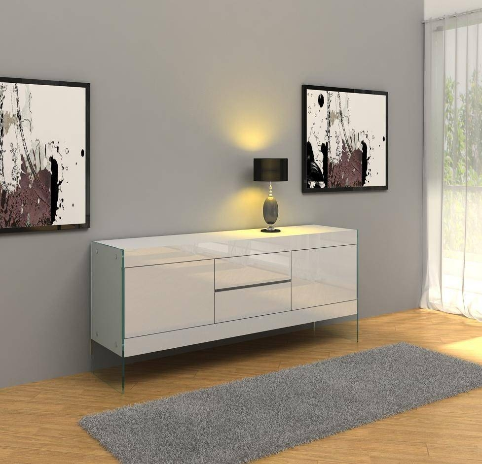 Aura Modern White Floating Buffet Throughout 2018 Modern Buffet Sideboards (#1 of 15)