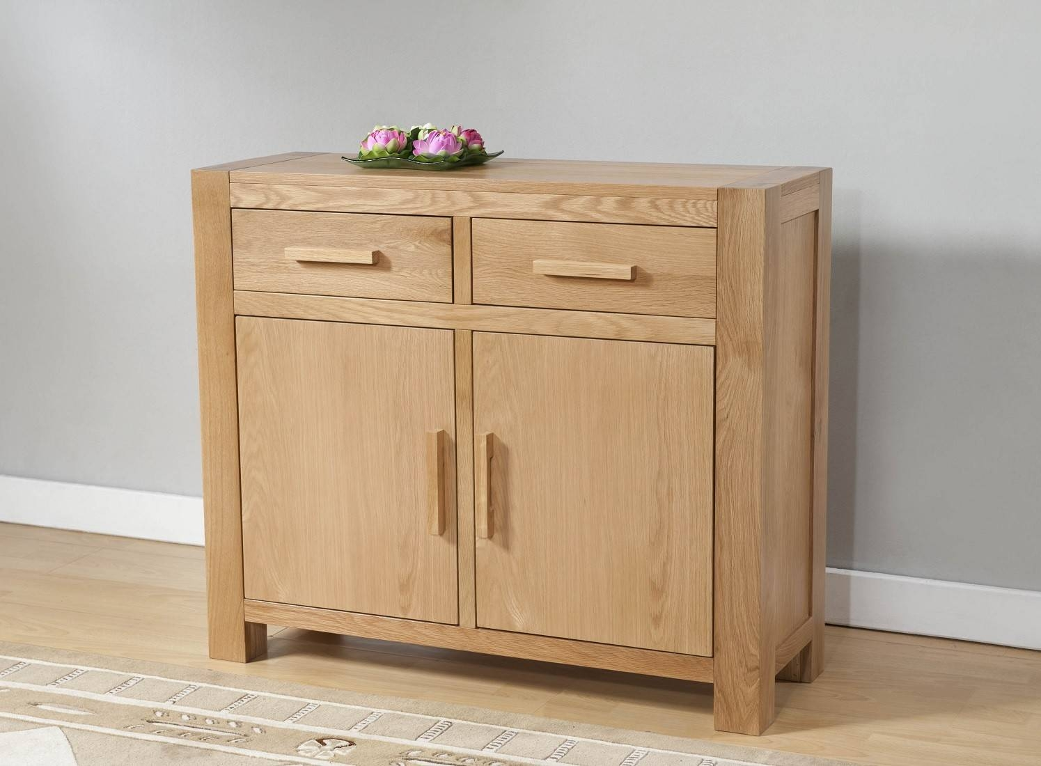 Aylesbury Contemporary Light Oak Small Sideboard | Oak Furniture Uk With Regard To Most Up To Date Small Oak Sideboards (#2 of 15)
