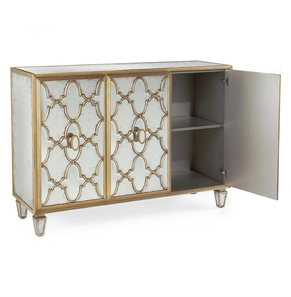 Babette Hollywood Regency Silver Leaf Mirrored Gold Lattice Intended For Latest Gold Sideboards (#2 of 15)