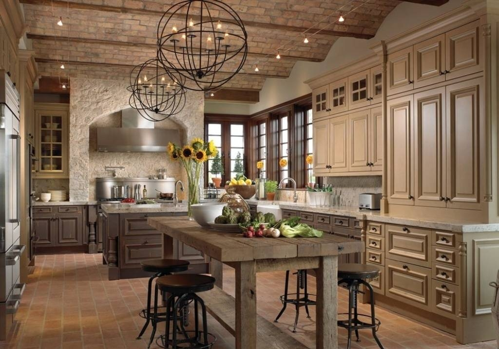 Ball Shaped Pendant Lamps With Rustic Kitchen Island Design For Within Best And Newest Rustic Pendant Lighting For Kitchen (View 11 of 15)