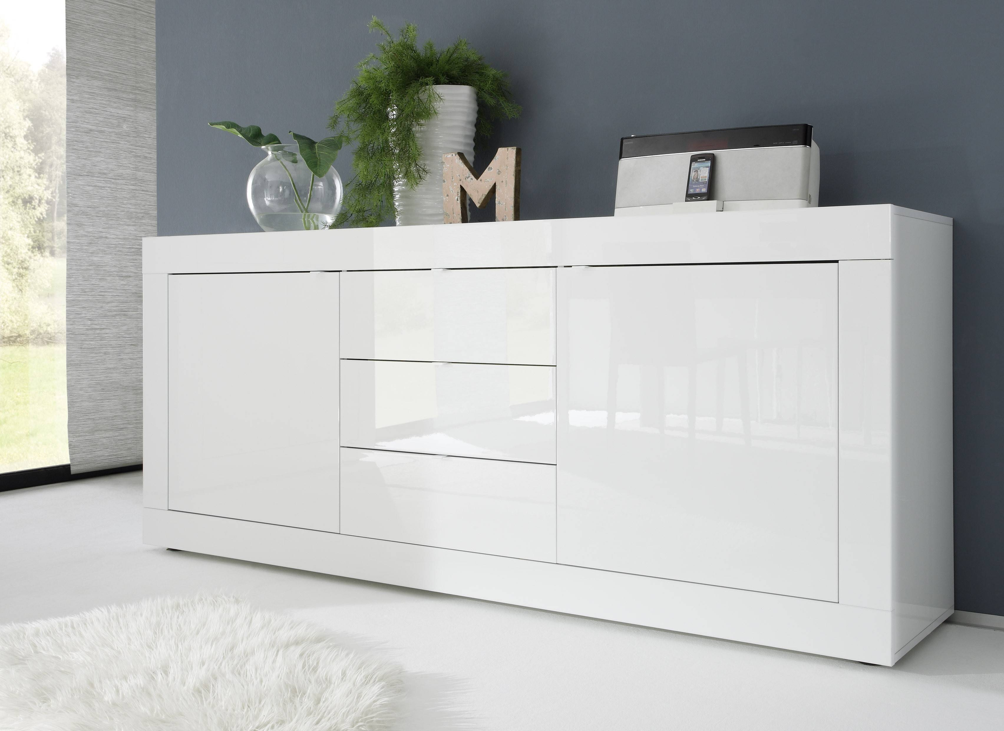 Attractive Basic Contemporary White Glossy Lacquer Dining Buffet Lincoln Intended For  2018 Modern Buffet Sideboards (#