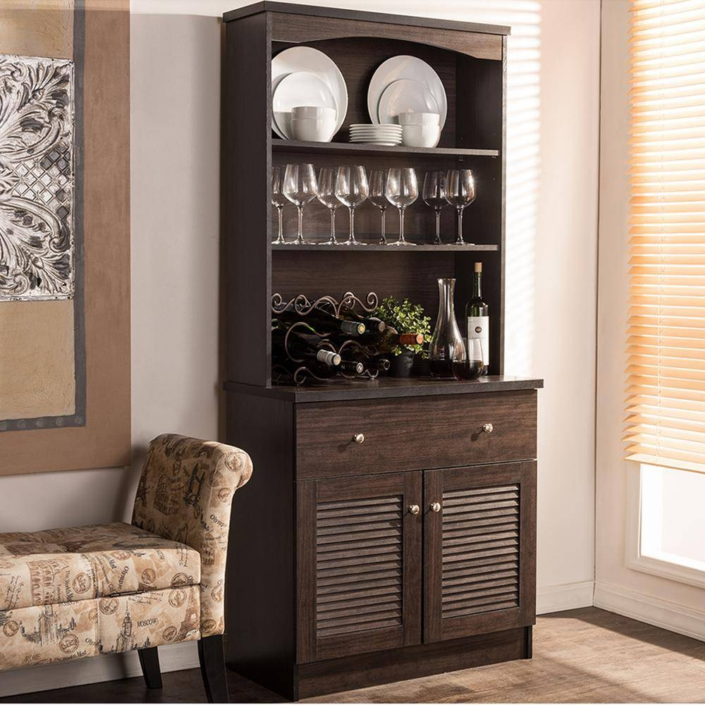 Baxton Studio Agni Dark Brown Wood Buffet With Hutch 28862 6493 Hd In Newest Sideboards With Hutch (#2 of 15)