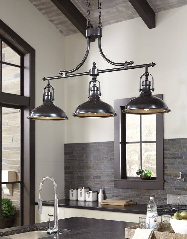 Beachcrest Home 3 Light Kitchen Island Pendant & Reviews | Wayfair With 2017 3 Light Pendants For Island Kitchen Lighting (#6 of 15)