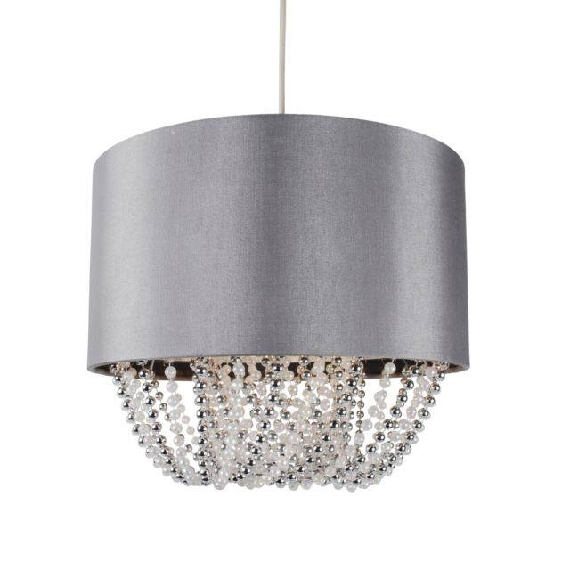 Beaded Grey Light Shade Ceiling Pendant Fabric Silver Sparkle Easy For Most Current Beaded Pendant Light Shades (#7 of 15)