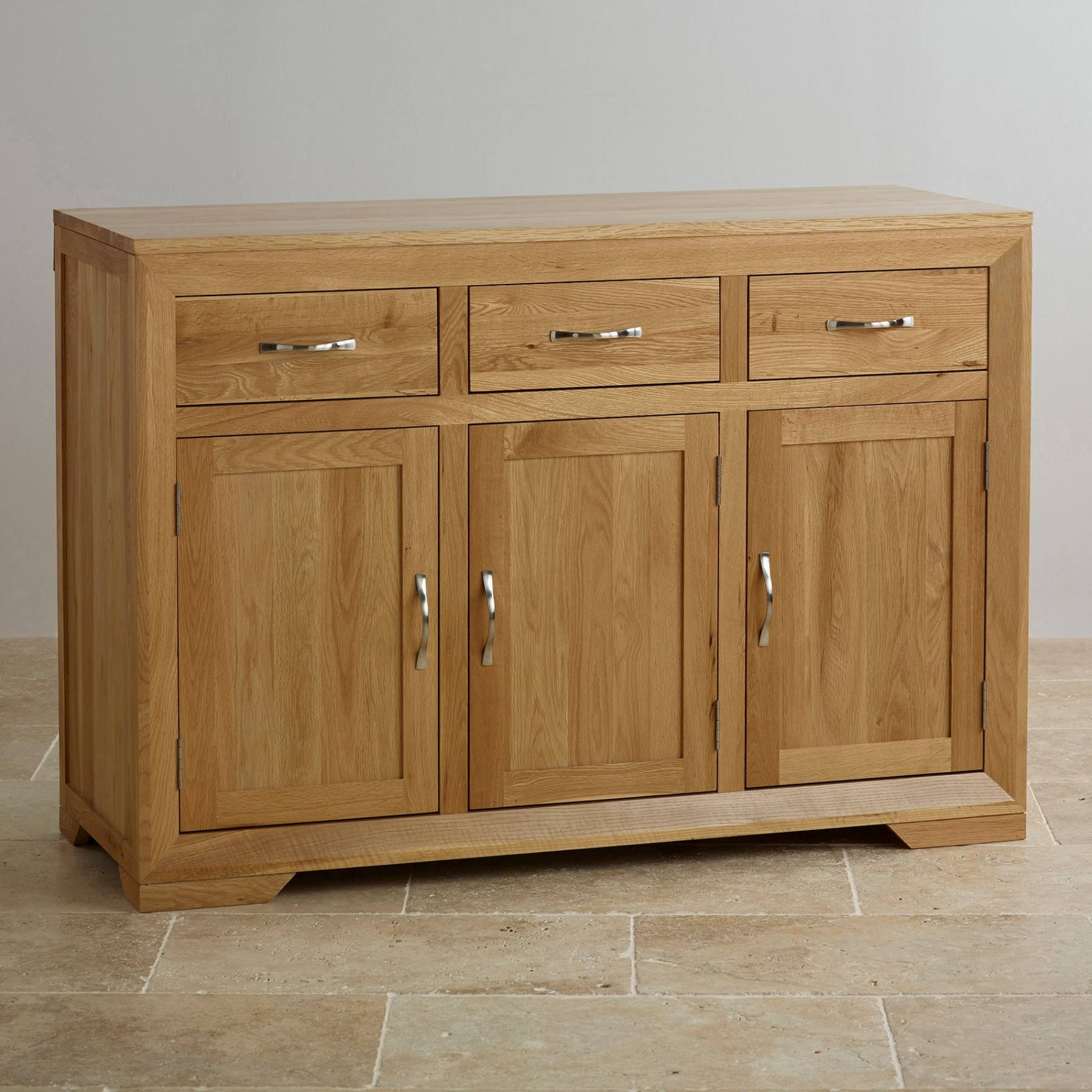 Bevel Natural Solid Oak Large Sideboard | Sideboards | Dining Room Inside Most Recent Natural Oak Sideboards (#1 of 15)