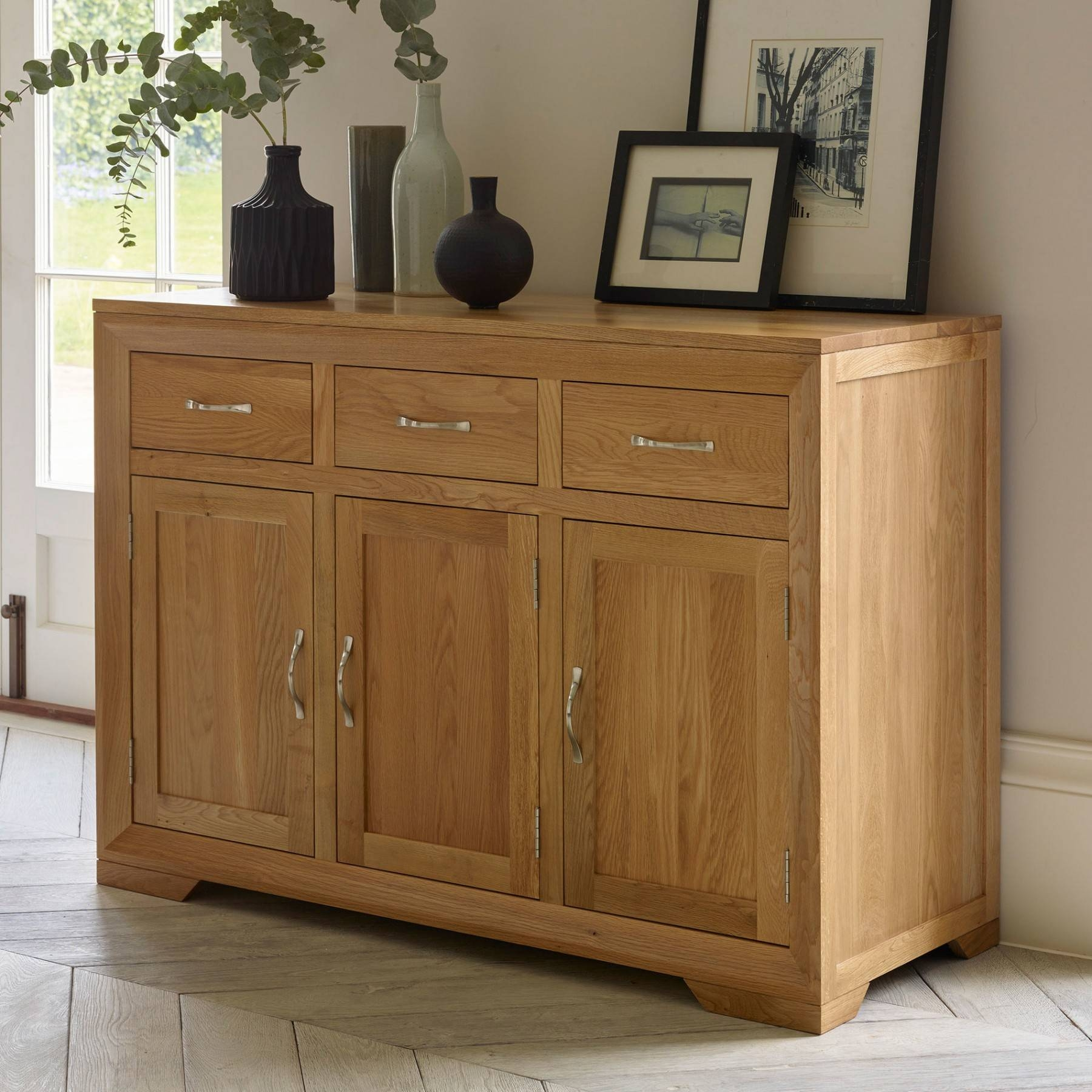 Bevel Natural Solid Oak Large Sideboard | Sideboards | Dining Room Pertaining To Current Natural Oak Sideboards (#2 of 15)
