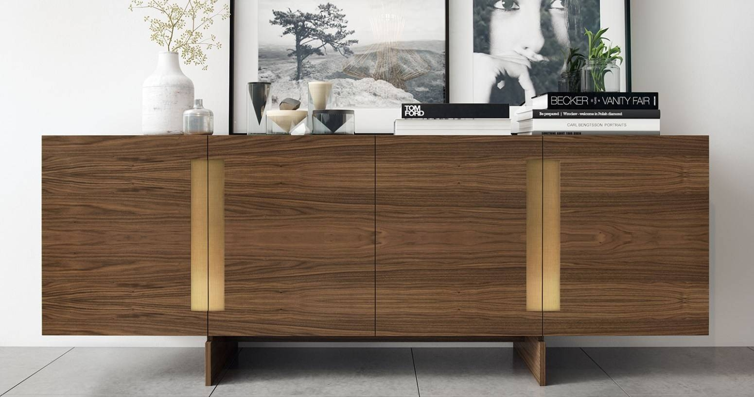 Black Credenza Buffet Small Sideboard With Wine Rack Antique White In Most Recently Released Slim Kitchen Sideboards (#1 of 15)