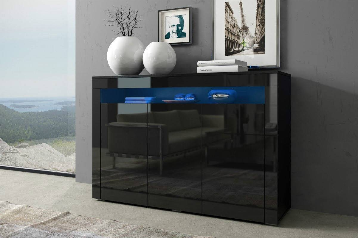 Black Gloss Doors Sideboard Modern Cabinet Cupboard Buffet Unit Pertaining To 2018 Sideboards With Lights (View 13 of 15)