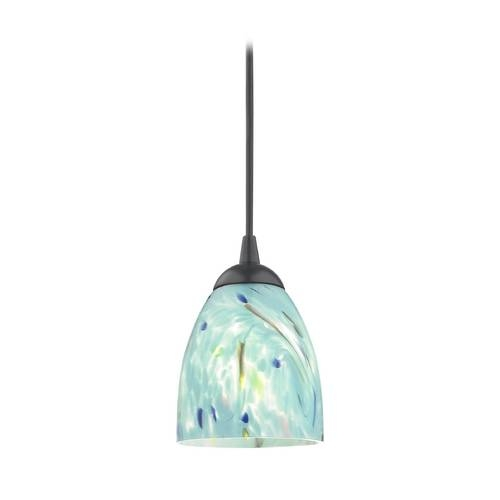 Black Mini Pendant Light With Turquoise Art Glass Shade | 582 07 Pertaining To Most Recently Released Black Mini Pendant Lights (#6 of 15)