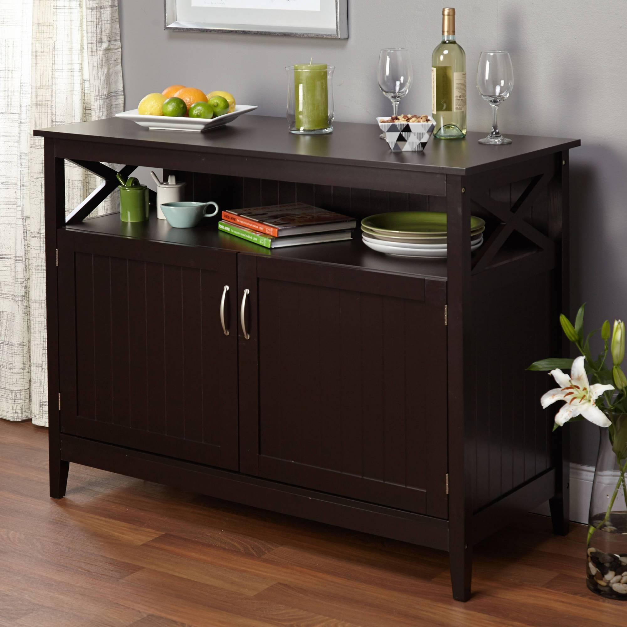 Black Sideboard With Glass Doors Images – Doors Design Ideas With Regard To Current Black Buffet Sideboards (#1 of 15)