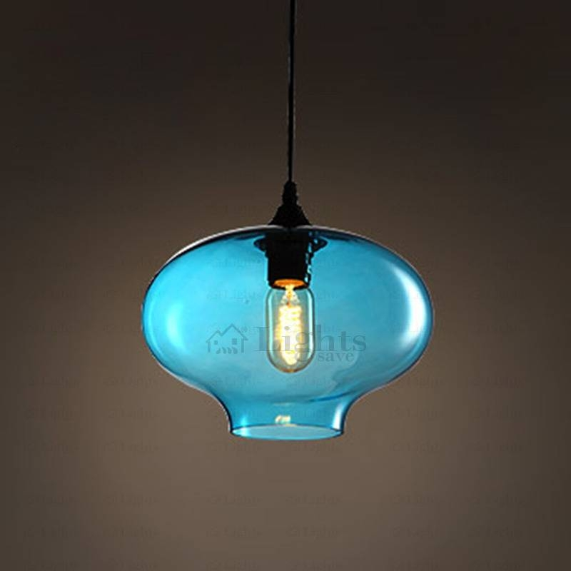 Blue Color Hand Blown Glass Pendant Lights Industrial Regarding Recent Blue Glass Pendant Lights (#4 of 15)