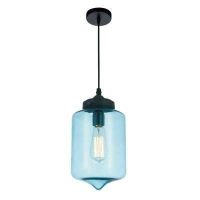 Blue – Pendant Lights – Lighting – The Home Depot Throughout Most Recently Released Blue Glass Pendant Lights (#3 of 15)