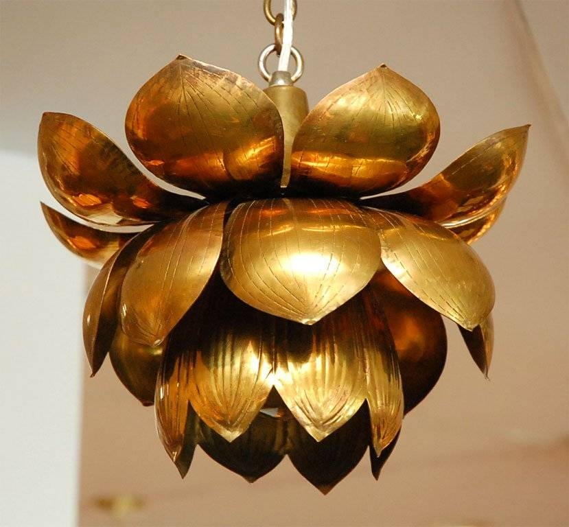 Brass Lotus Chandelier At 1Stdibs In Most Recent Flower Pendant Lights (#2 of 15)
