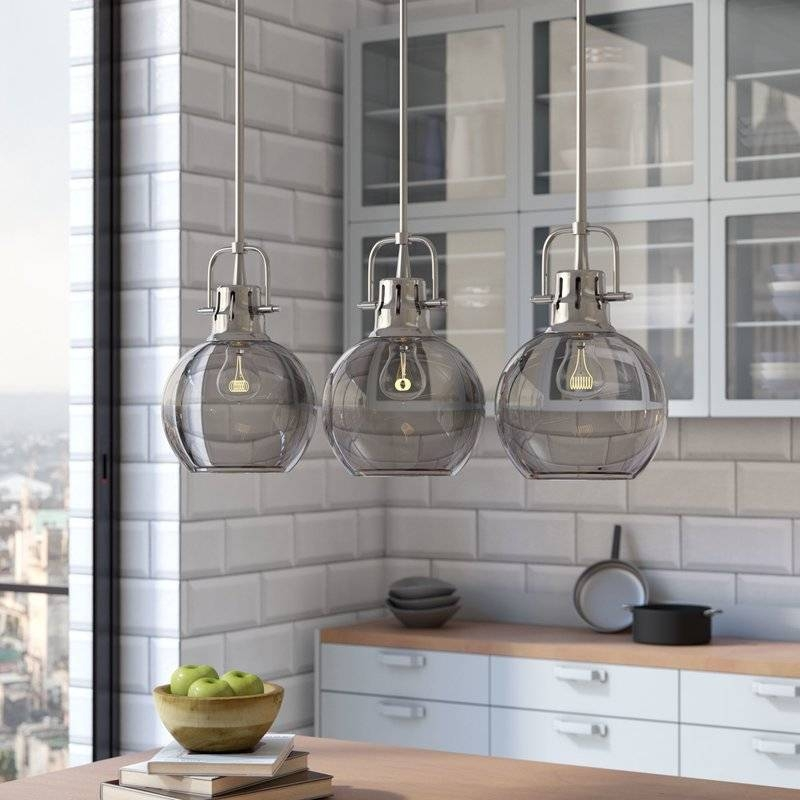 Brayden Studio Burner 3 Light Kitchen Island Pendant & Reviews In 2018 3 Pendant Lights For Kitchen Island (#4 of 15)