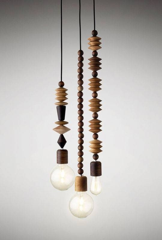 Bright Beads – 3 Cluster – Pendant Lights – Marz Designs With Recent Wooden Pendant Lighting (#4 of 15)