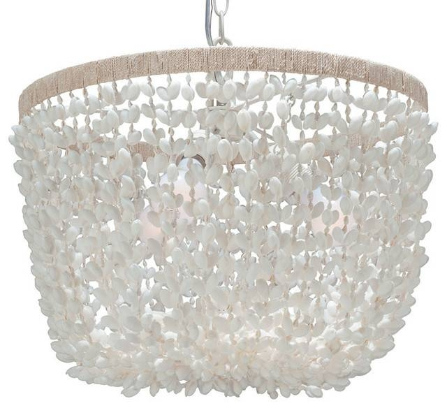 Bubble Seashell Inverted Pendant Lamp, White – Beach Style Intended For 2018 Shell Pendant Lights (#3 of 15)