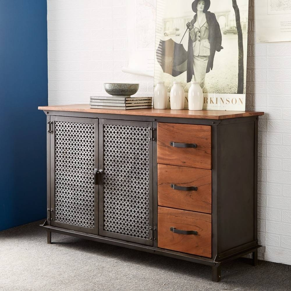 Buy Indian Hub Evoke Iron And Wooden Jali 3 Drawer Sideboard Inside Best And Newest Indian Sideboard Furniture (#2 of 15)
