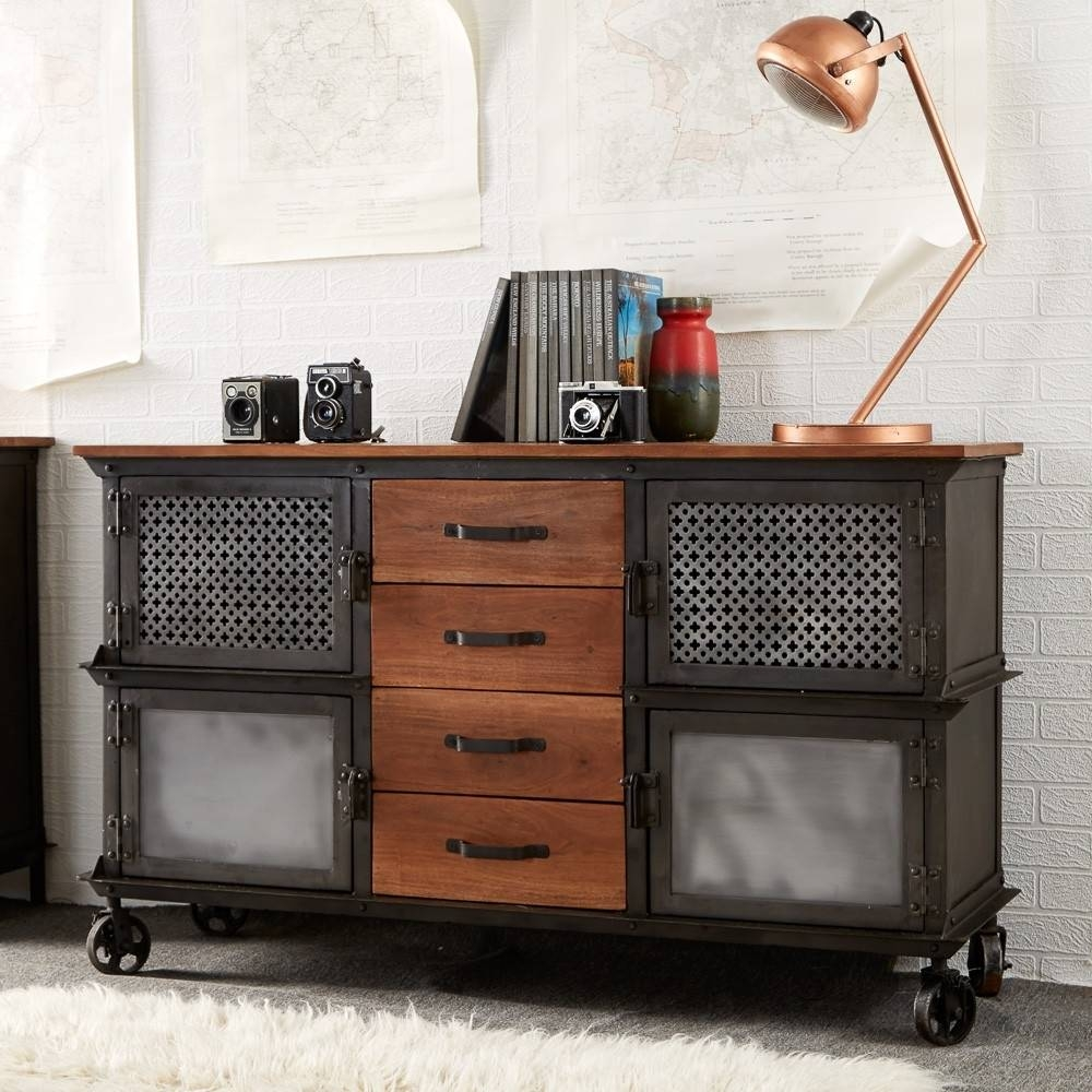 Buy Indian Hub Evoke Iron And Wooden Jali 4 Drawer Sideboard Within Most Current Indian Sideboard Furniture (#3 of 15)
