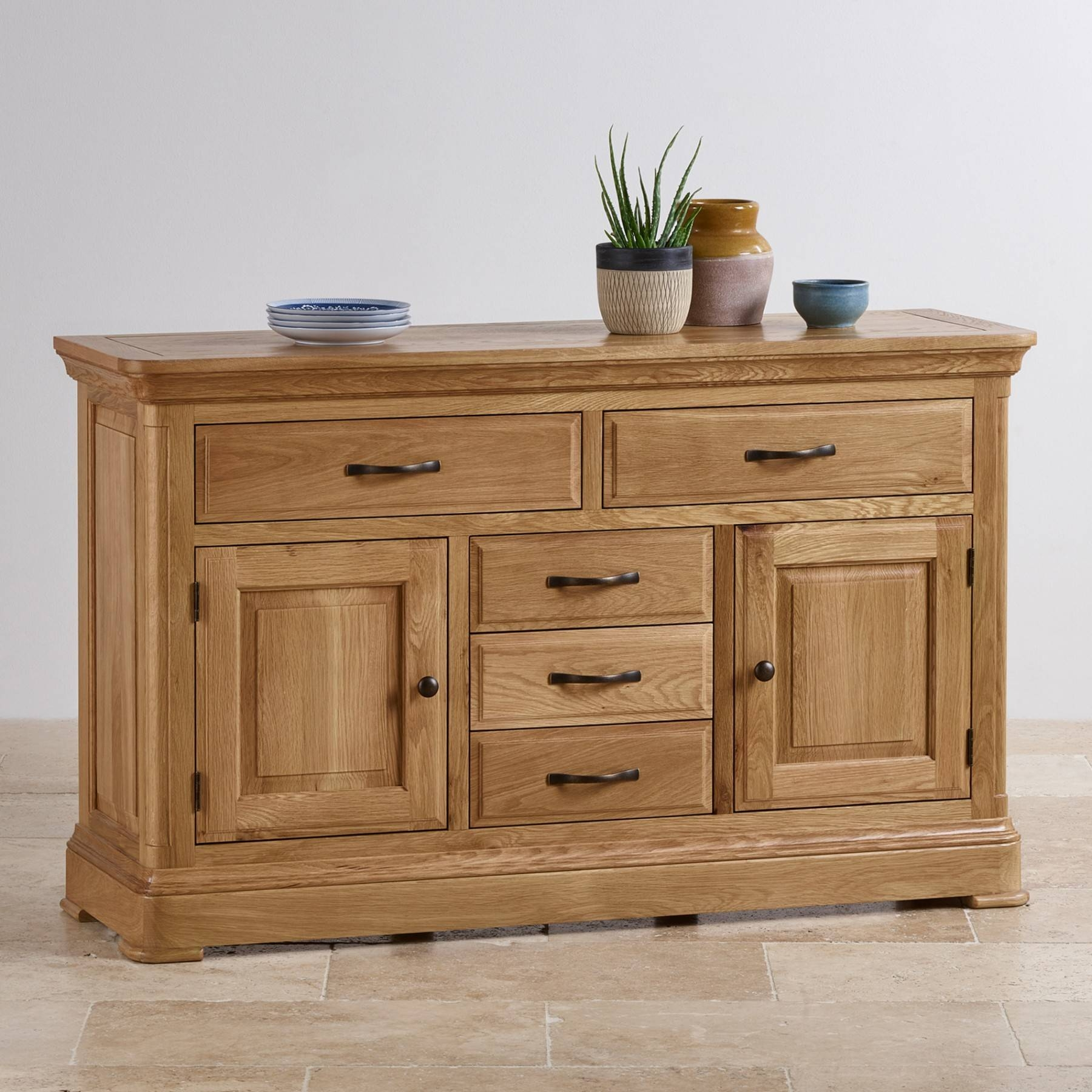 Canterbury Natural Solid Oak Large Sideboard | Sideboards | Dining Pertaining To Recent Dovetail Sideboards (#3 of 15)