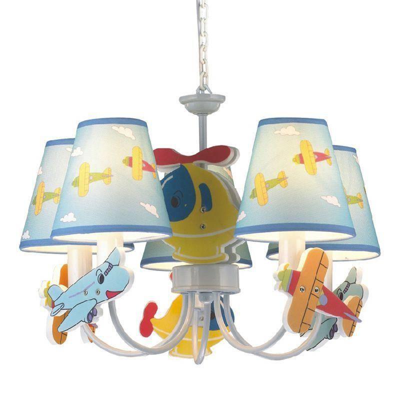 Cartoon Children's Room Aircraft Pendant Lights Cute Blue Kids In Most Current Kids Room Pendant Lights (#3 of 15)
