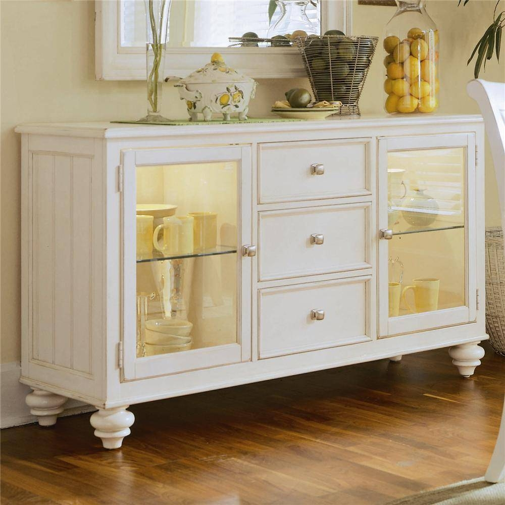 China Buffet/credenza With 2 Glass Doorsamerican Drew | Wolf Regarding Most Recently Released White Sideboards With Glass Doors (#3 of 15)