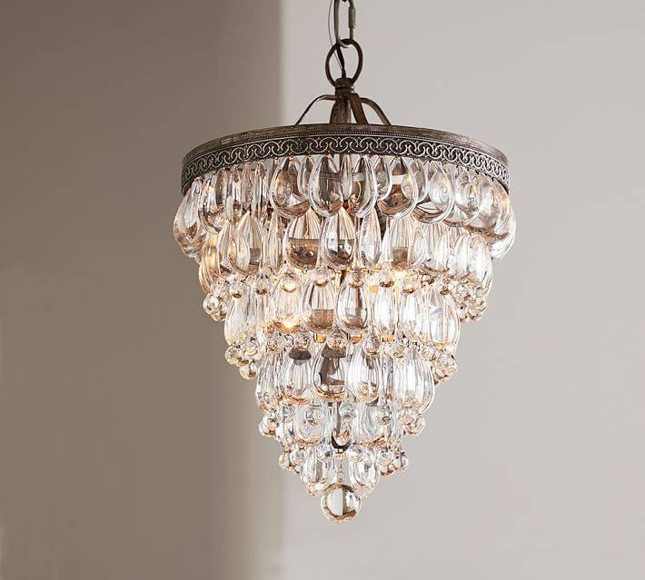 Clarissa Crystal Drop Small Round Chandelier | Pottery Barn For Most Popular Crystal Teardrop Pendant Lights (#5 of 15)