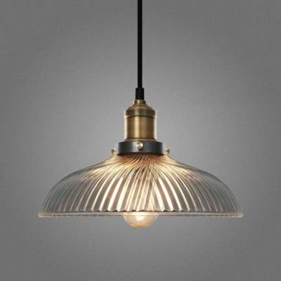 Clear Glass 1 Light Led Pendant With Ribbed Glass Shade Inside 2017 Shades Glass Mini Pendant Light (#4 of 15)