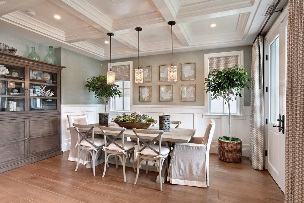 Coastal Beach Decor Dining Room Beach Style With White Wood Wall Decor Throughout Most Up To Date Beach House Pendant Lighting (#7 of 15)