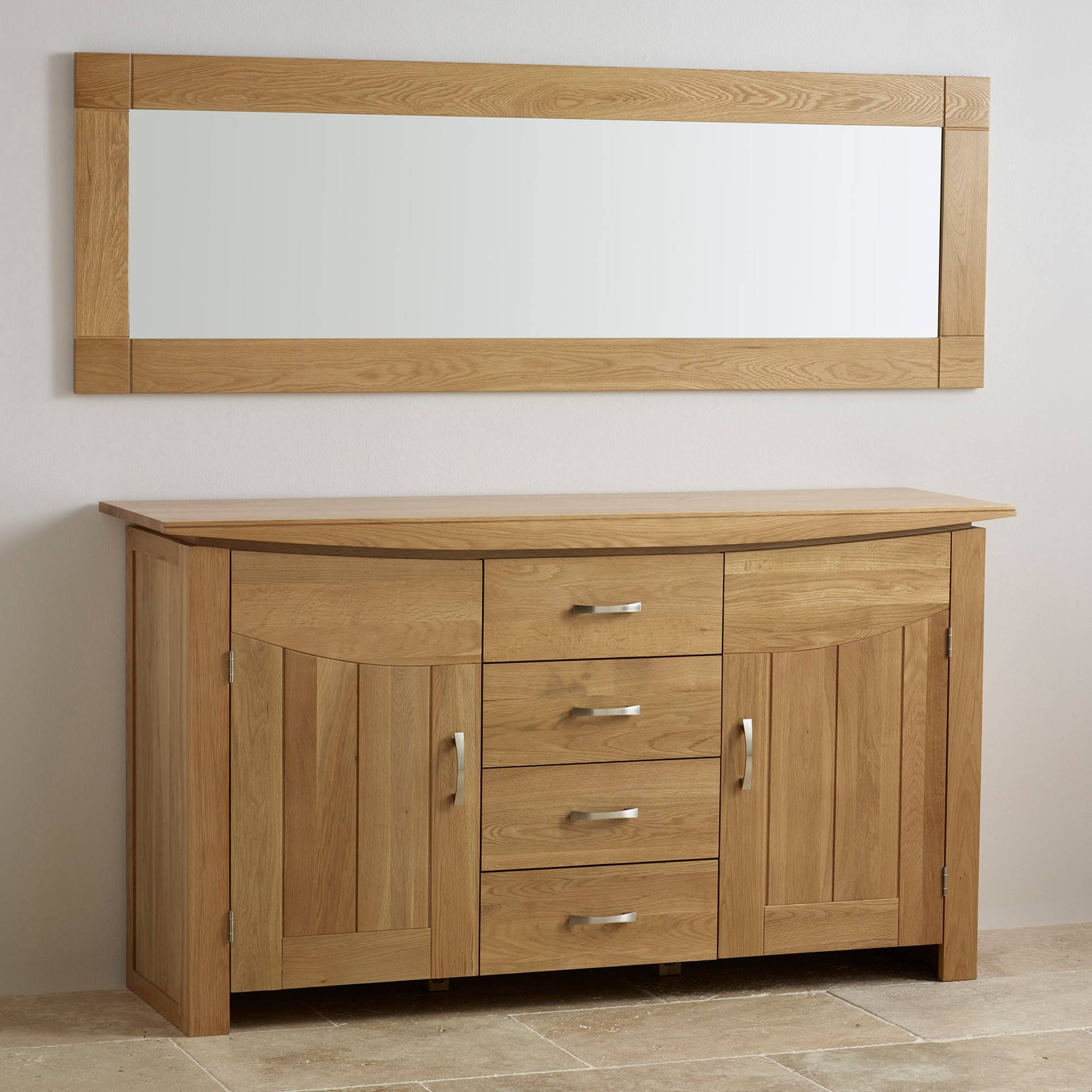 Contemporary Natural Solid Oak Wall Mirror – 1800Mm X 600Mm With Regard To Most Popular Oak Furniture Land Sideboards (#4 of 15)