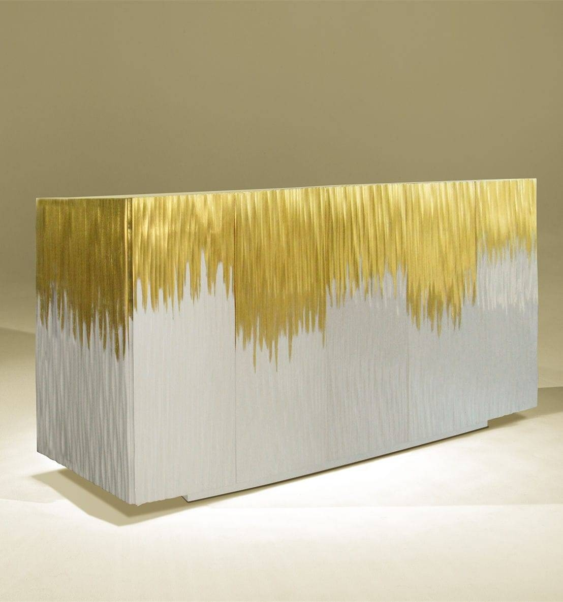 Contemporary Sideboard / Lacquered Wood / White / Golden – Moon With Regard To Recent Gold Sideboards (#4 of 15)