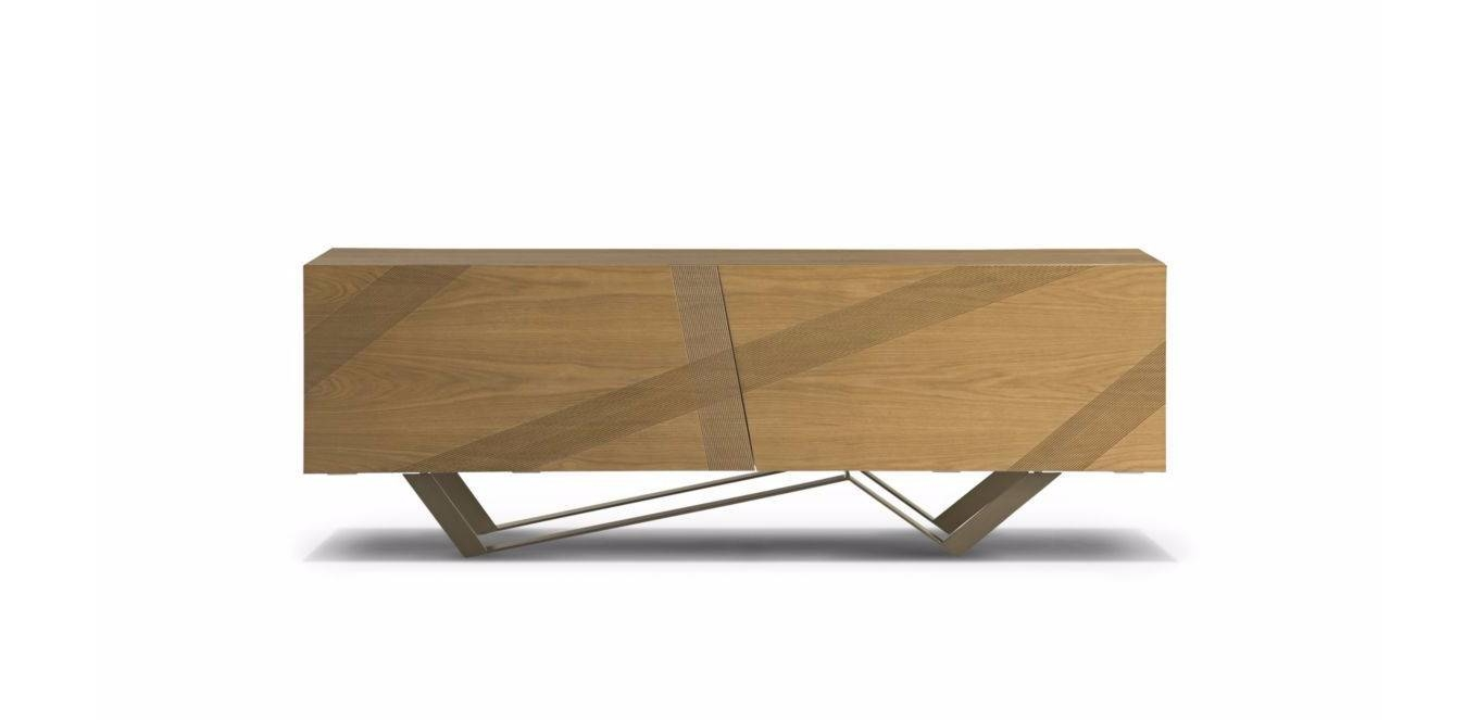 Contemporary Sideboard / Oak / Mdf / Steel – Trackluigi Pertaining To Most Popular Roche Bobois Sideboards (#2 of 15)