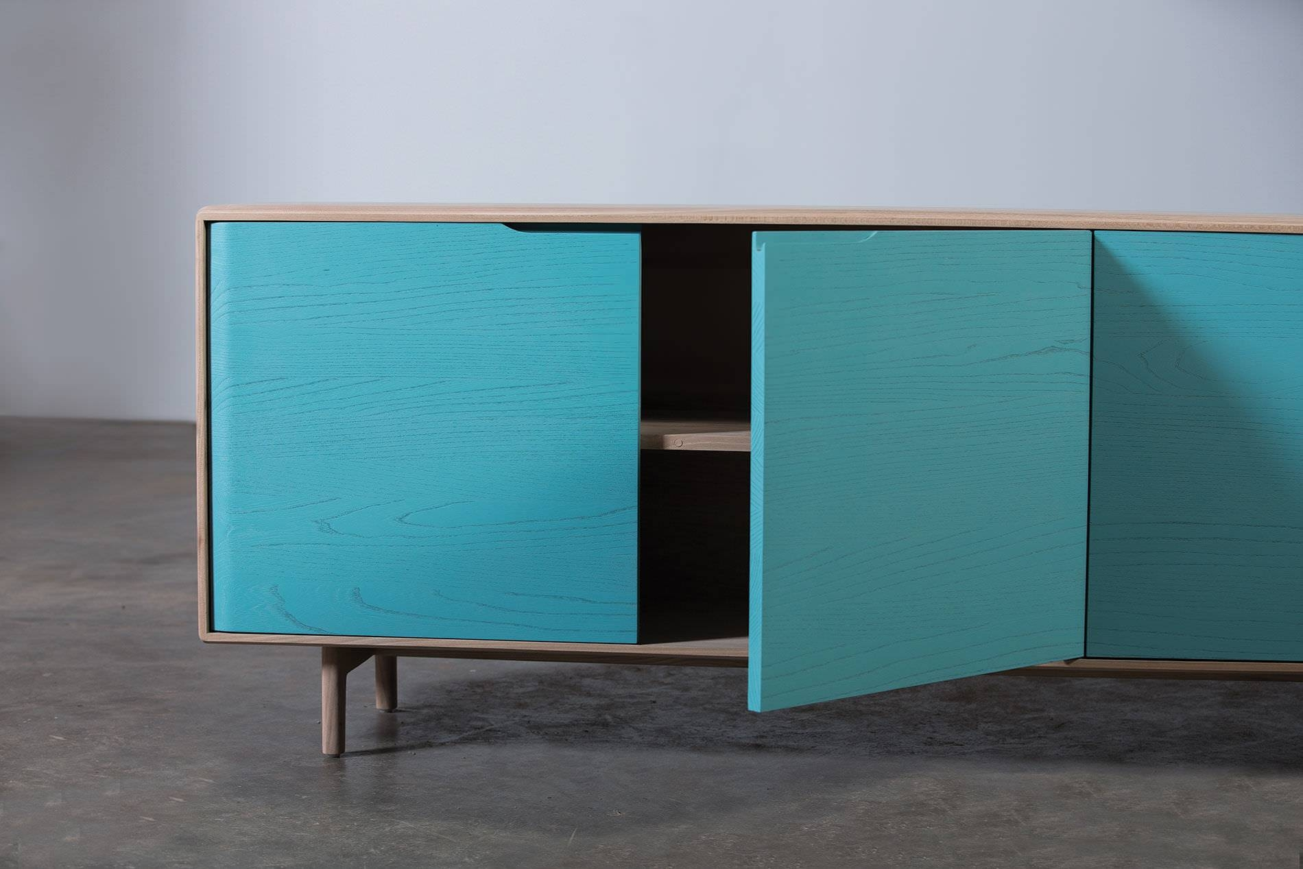 Contemporary Sideboard / Oak / Walnut / Solid Wood – Invito Throughout Current Turquoise Sideboards (#6 of 15)