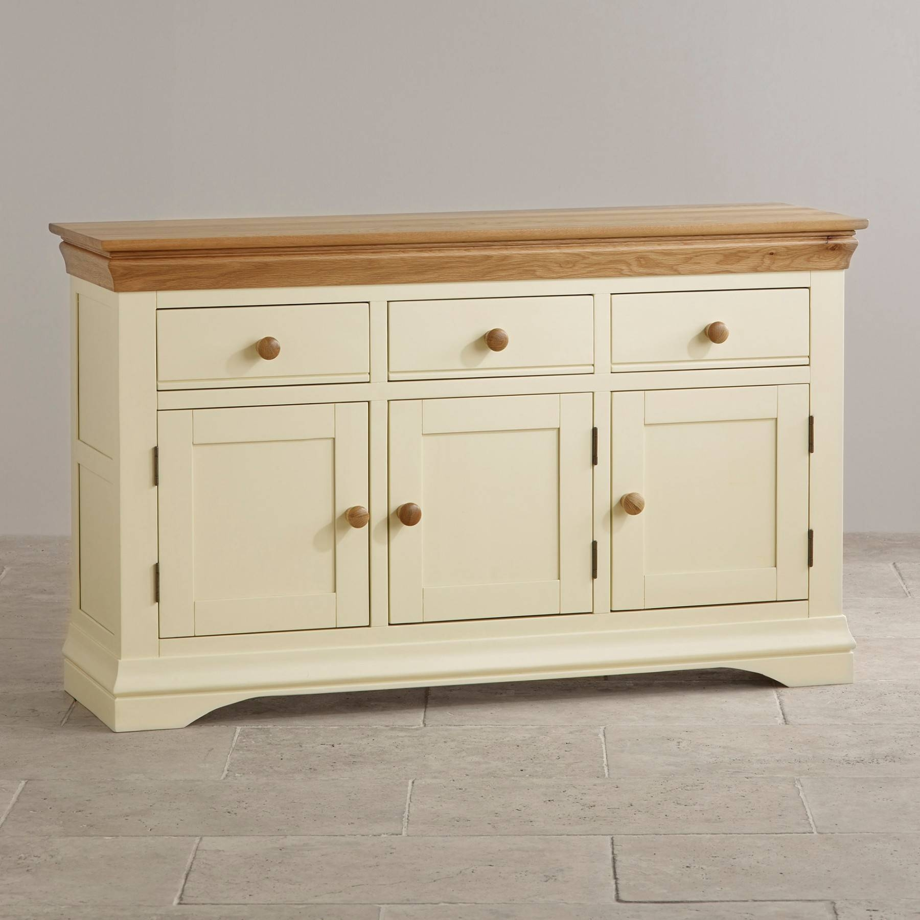 Country Cottage Natural Oak And Painted Large Sideboard Oak Inside Most Up To Date Natural Oak Sideboards (#6 of 15)