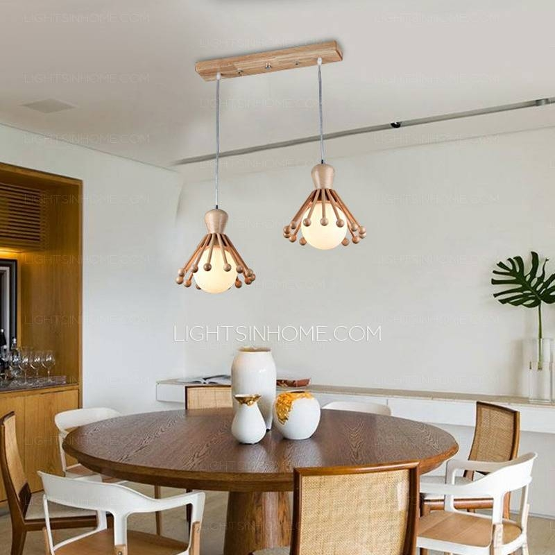 Creative 2 Light Rectangular Ceiling Plate Wood Pendant Light With Best And Newest Pendant Lights For Ceiling Plate (#8 of 15)