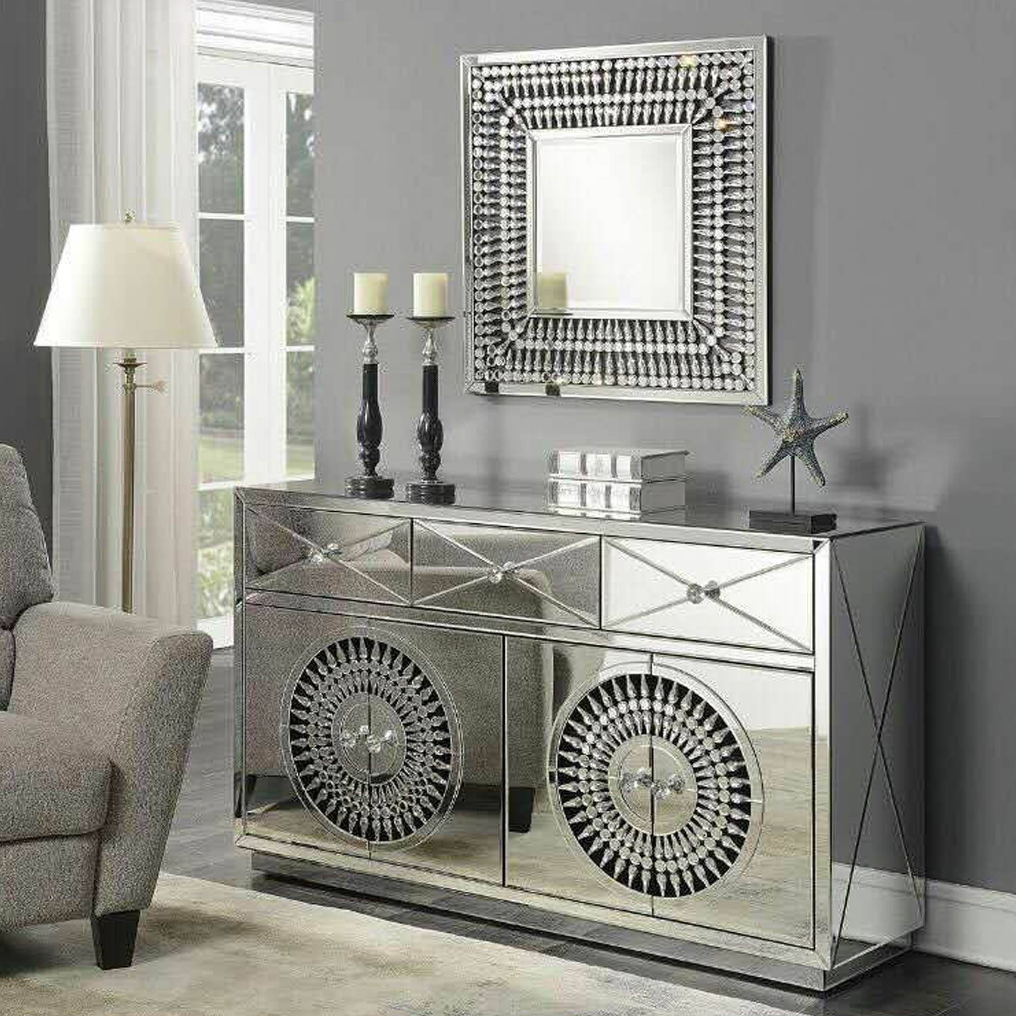 Crystal Mirrored Sideboard | Sideboard | Homesdirect365 Inside Latest Mirror Sideboards (View 7 of 15)