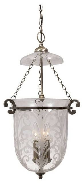 Crystorama Camden Wrought Iron Etched Glass Bell Jar Pendant Inside Most Popular Etched Glass Pendant Lights (#10 of 15)