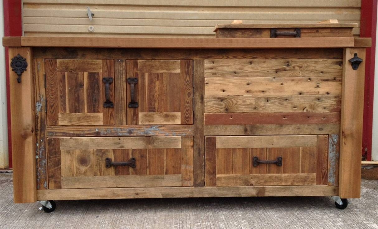Custom Reclaimed Or Barnwood Furniture Bar Cabinets Wooden For Newest Bar Sideboards (#2 of 15)