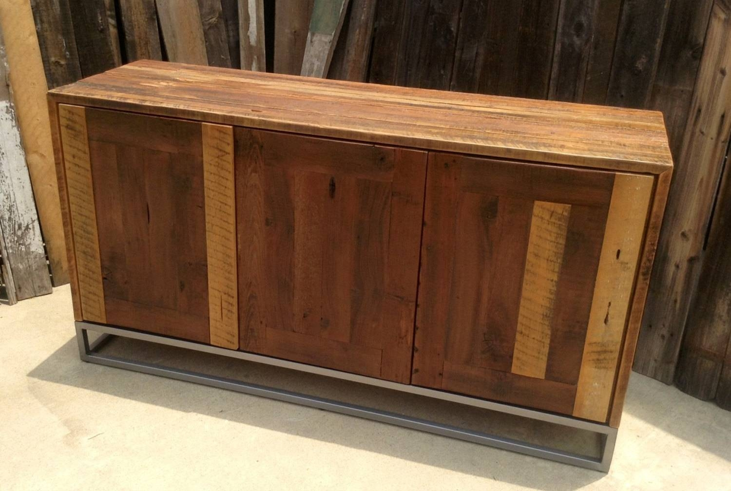 Custom Rustic Modern/ Industrial Reclaimed Wood Buffet Cabinet Inside Most Up To Date Reclaimed Wood Sideboards (View 7 of 15)