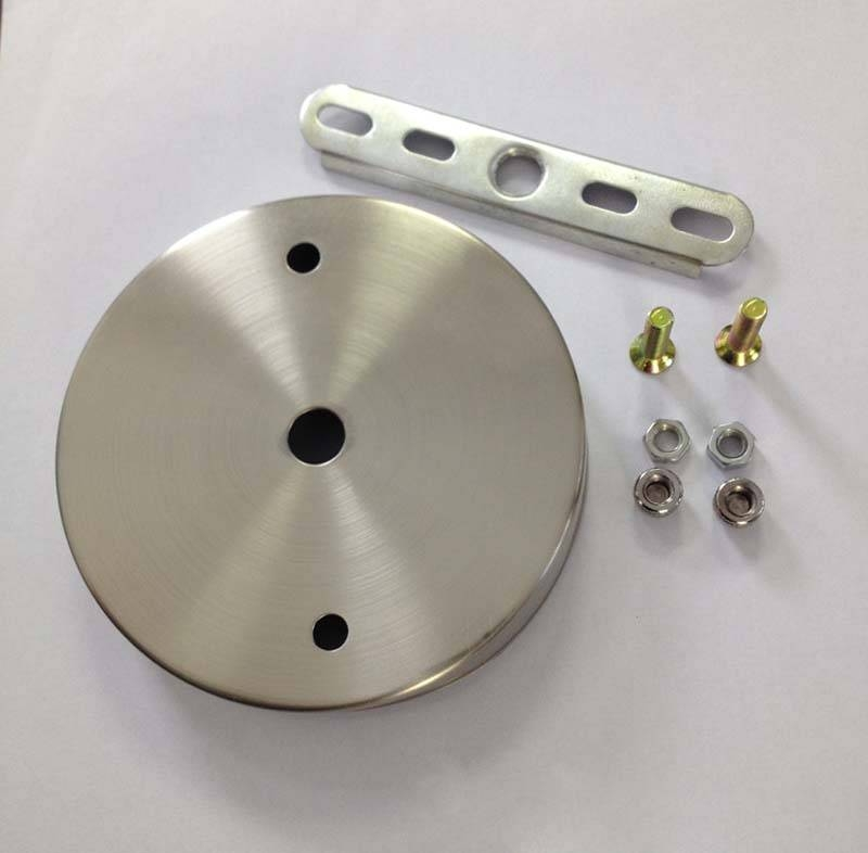 D100Mm Satin Nickel Ceiling Plate Ceiling Canopy For Diy Pendant Regarding 2017 Pendant Lights For Ceiling Plate (#9 of 15)