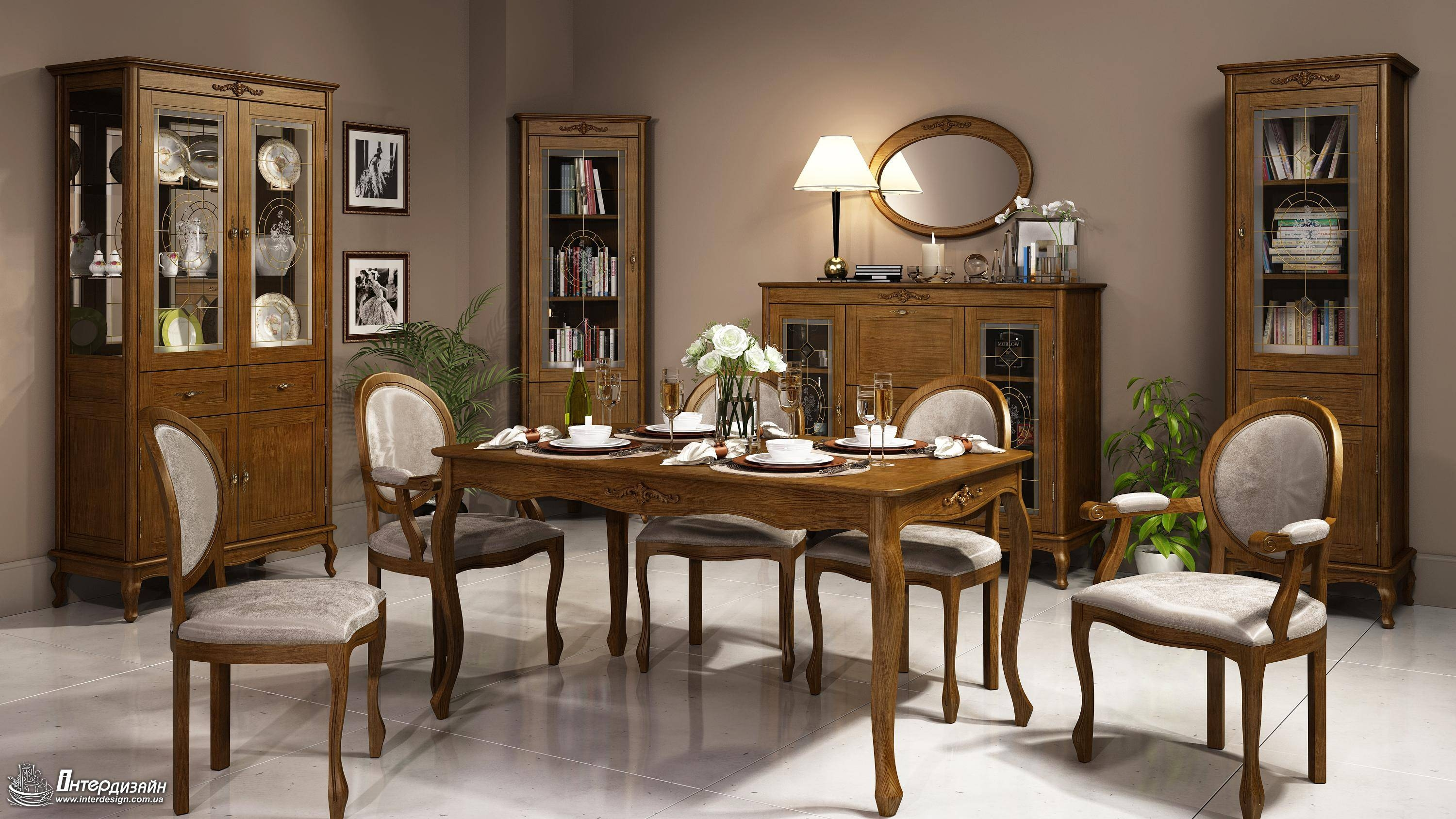 Decorating: Elegant Dining Room Designinterdesignwith Brown With Regard To Recent Dining Room Table Chairs And Sideboards (View 5 of 15)