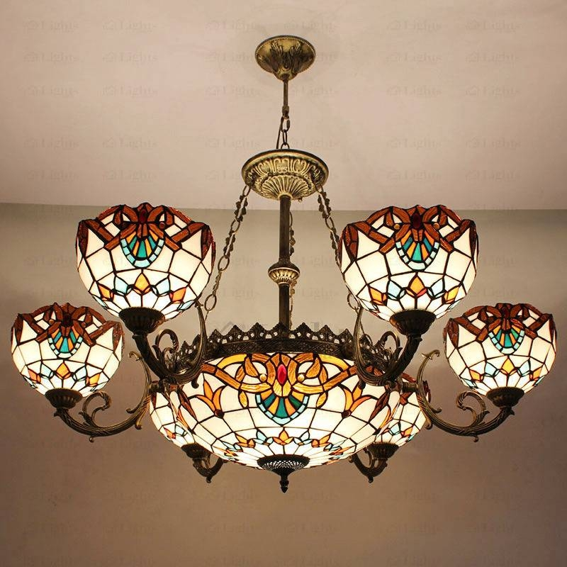 Decorative 9 Light Stained Glass Shade Tiffany Style Chandeliers With Regard To Most Recently Released Tiffany Style Pendant Light Fixtures (#6 of 15)