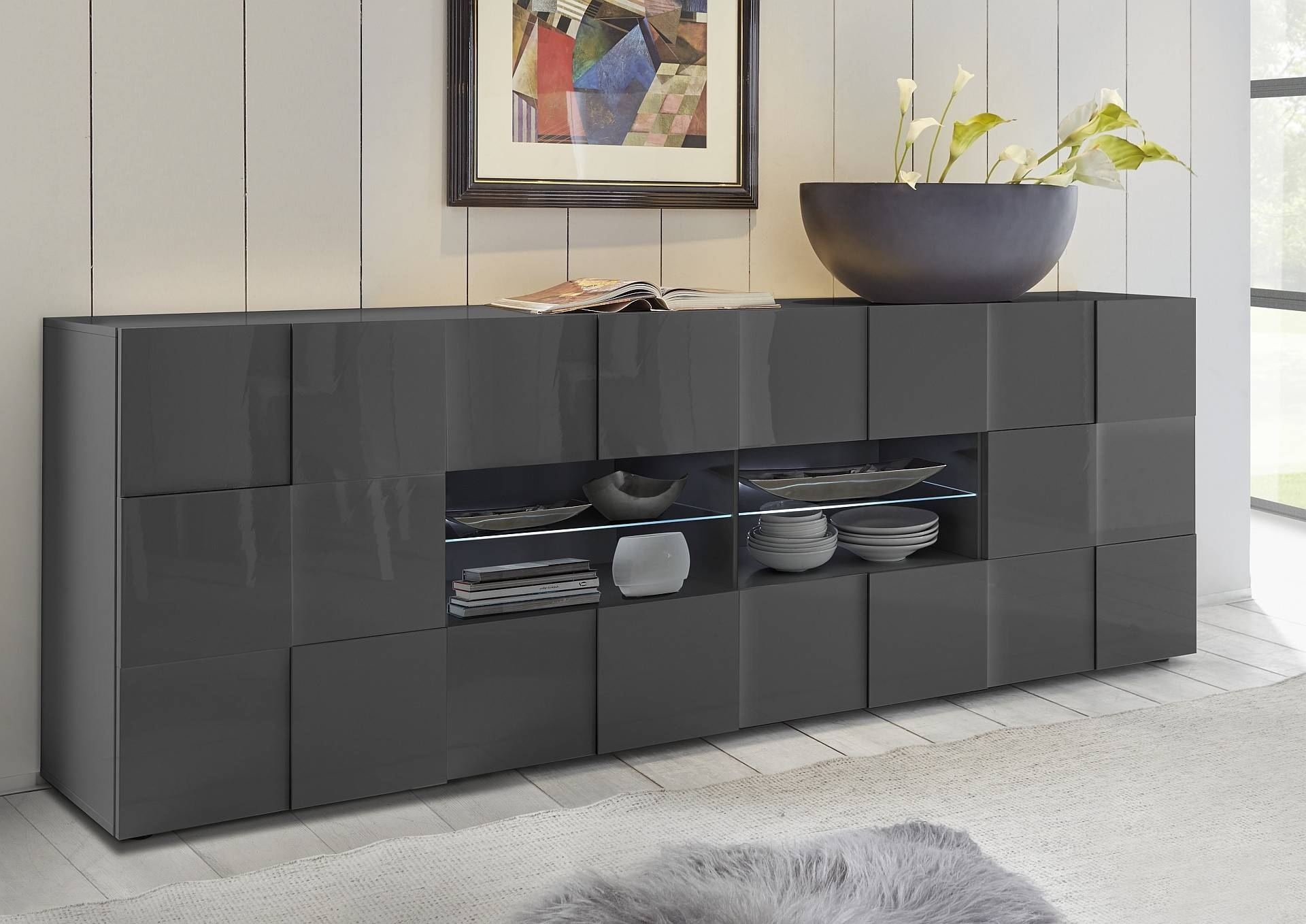 Diana 241Cm – Grey Gloss Sideboard With Led Lights – Sideboards Pertaining To Most Recently Released Gloss Sideboard Furniture (#4 of 15)