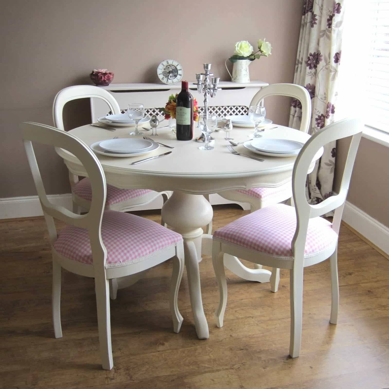 Dining Room With Shabby Chic Furniture Such As Table With Armless Inside Most Current Dining Room Table Chairs And Sideboards (#7 of 15)