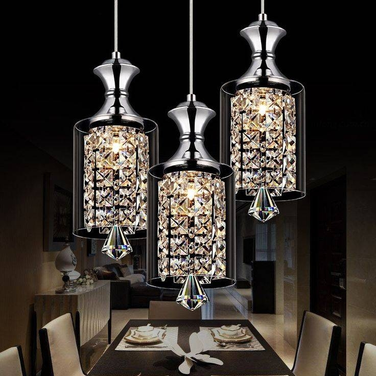 Discount 3Head Modern Square Led Crystal Chandeliers Dining Room Inside Current Crystal Teardrop Pendant Lights (#7 of 15)