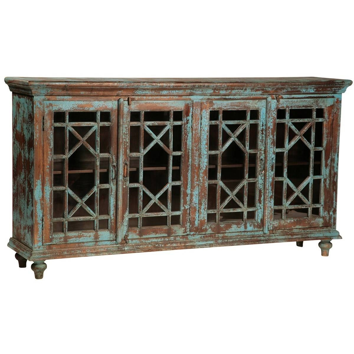 Dovetail Furniture Sideboards/buffets Zamora Teal Crackle With Regard To Most Up To Date Dovetail Sideboards (#5 of 15)