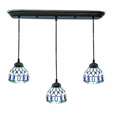 Down Lighting Three Light Tiffany Style Multi Light Pendant Pertaining To Current Tiffany Style Pendant Light Fixtures (#7 of 15)