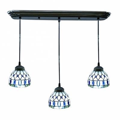 Down Lighting Three Light Tiffany Style Multi Light Pendant Pertaining To Current Tiffany Style Pendant Light Fixtures (View 7 of 15)